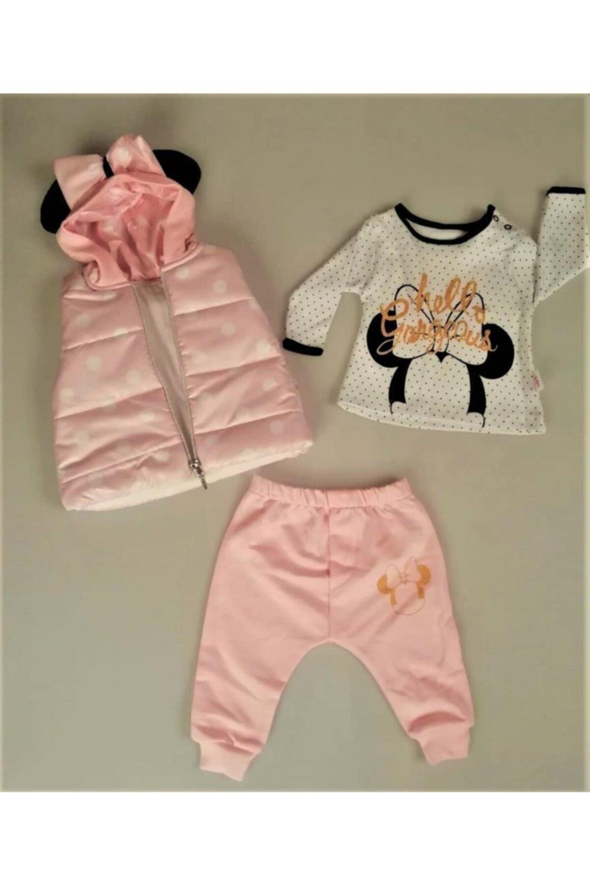 Hippıl Baby Yeni Sezon Kız Bebek Çocuk Kapüşonlu Yelekli Hello Desen Badili 3 Parça Takım-0313 1