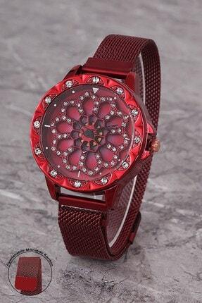Polo55 Plkhm007r01 Kadın Saat Taşlı Göstergeli Oynar Çiçekli Kadran Mıknatıslı Hasır Kordon