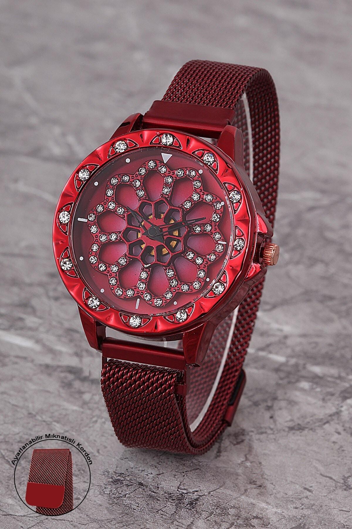 Polo55 Plkhm007r01 Kadın Saat Taşlı Göstergeli Oynar Çiçekli Kadran Mıknatıslı Hasır Kordon 1