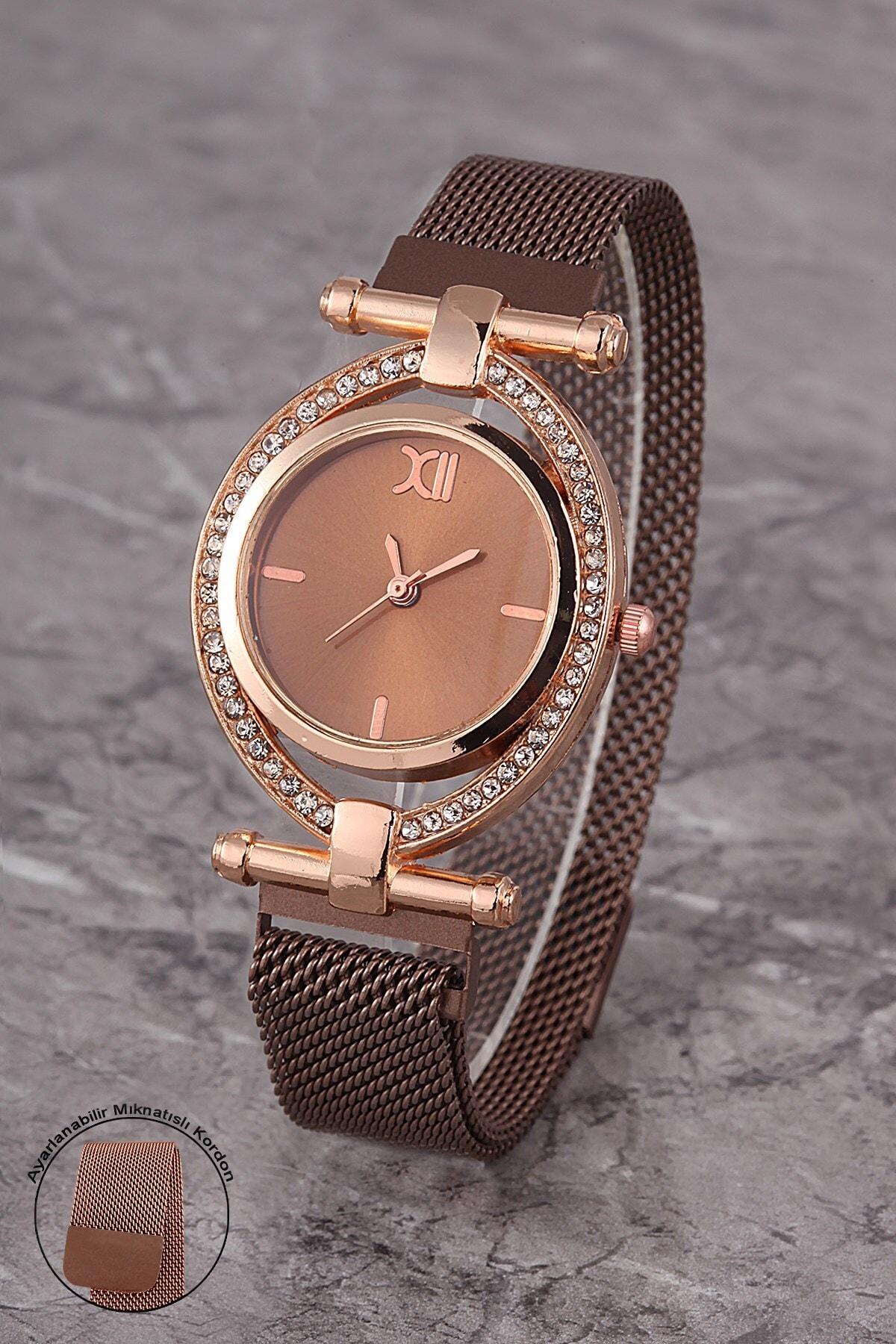 Polo55 Plkhm011r02 Kadın Saat Taşlı Döner Kadran Mıknatıslı Hasır Kordon 1