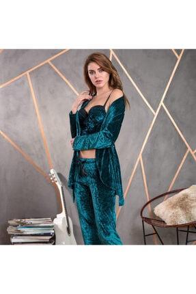 Anıl 5483 Kadın Pijama Kadife Sabahlık Büstiyer Pantolon Takım