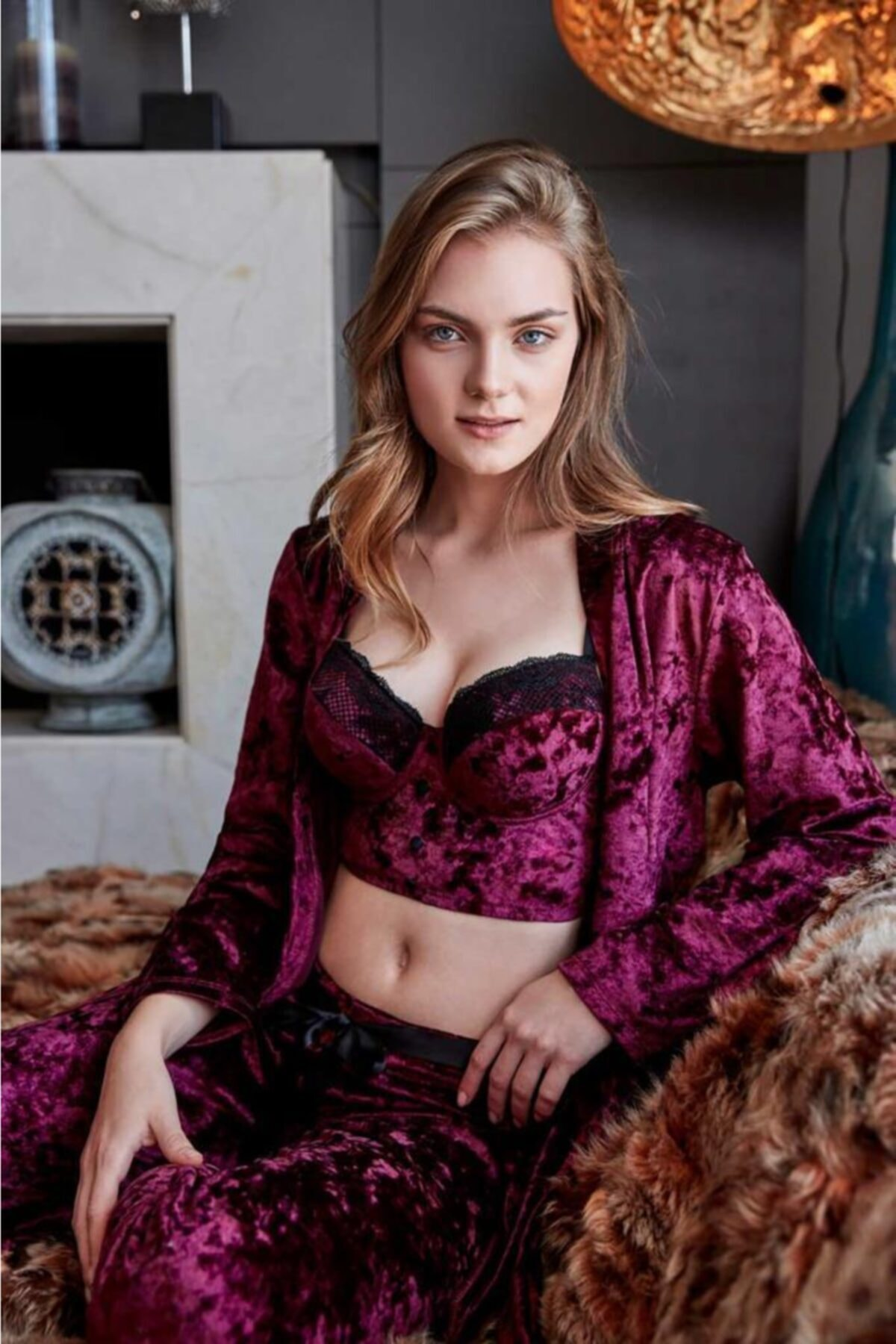 Anıl 5483 Kadın Pijama Kadife Sabahlık Büstiyer Pantolon Takım 1