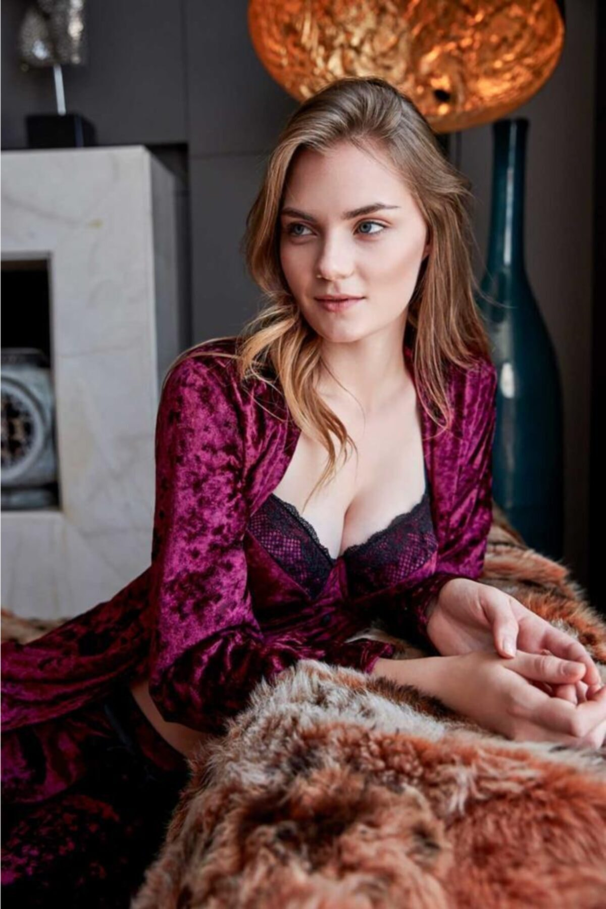 Anıl 5483 Kadın Pijama Kadife Sabahlık Büstiyer Pantolon Takım 2