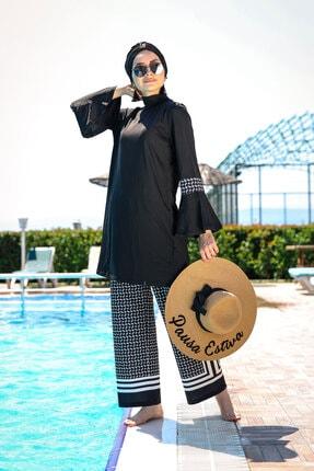 Marina Bol Kesimli Salaş Model Tasarım Tam Kapalı Tesettür Mayo 1960 Siyah