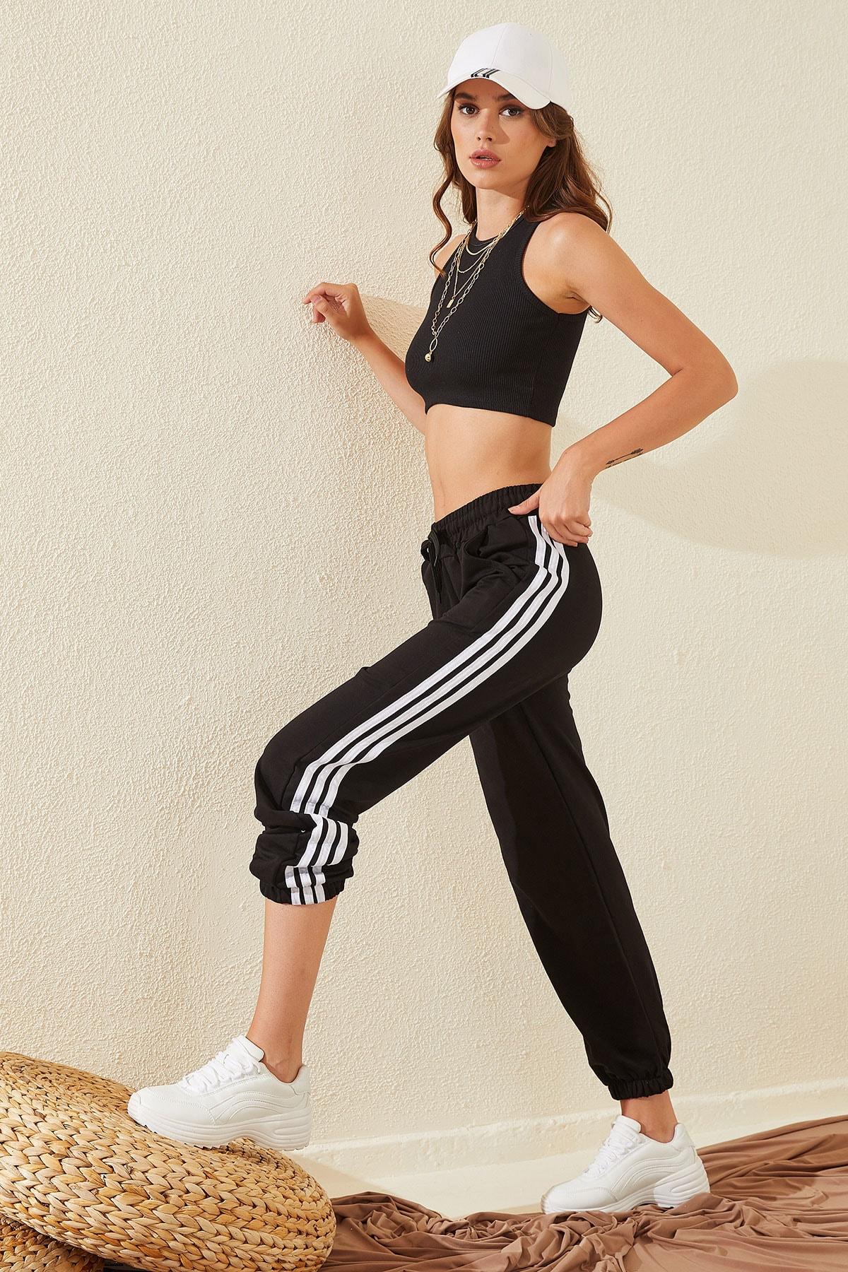 HeraModa Kadın Siyah Çizgili Jogger Iki Iplik Beli Lastikli Eşofman Altı 2