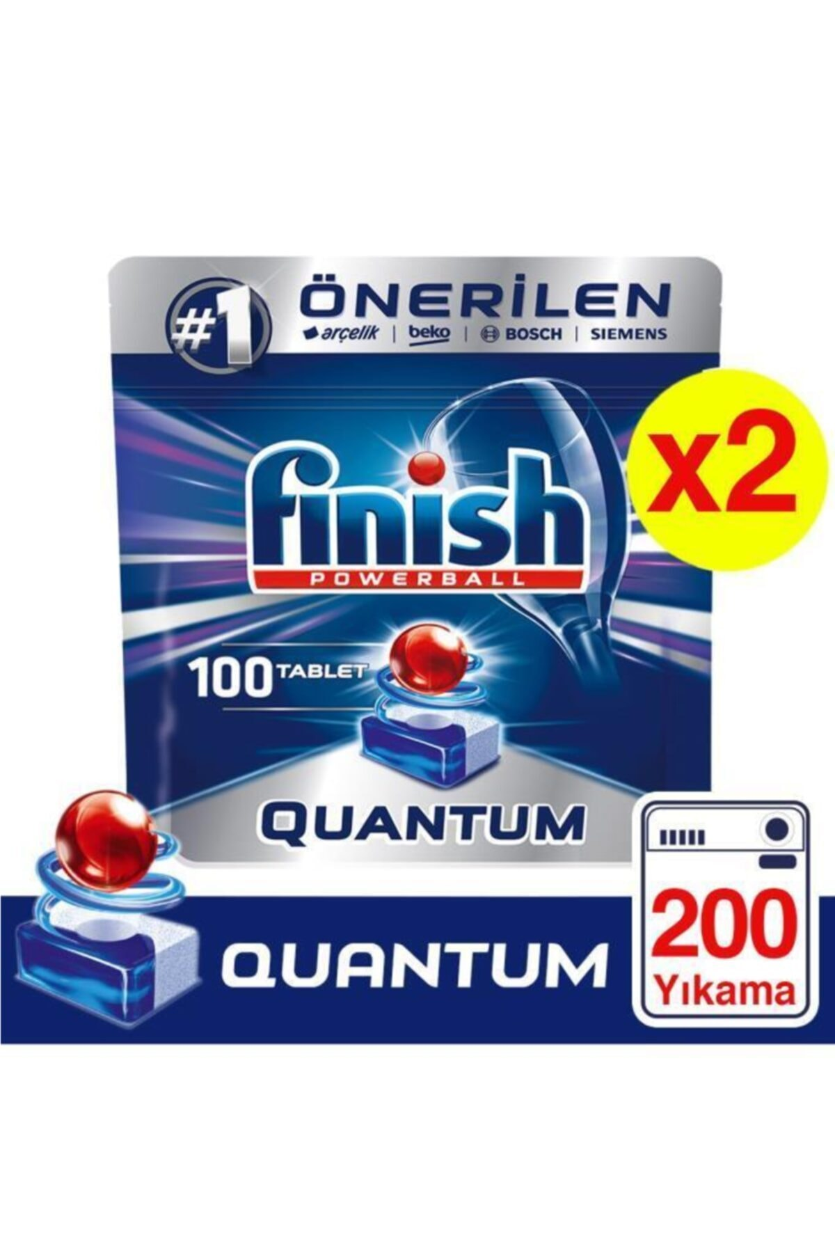 Finish Quantum 100 Tablet Bulaşık Makinesi Deterjanı X 2 Adet 1