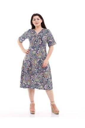 CASUAL DRESS Kadın Mavi V Yaka Yarım Kol Zeminli Şal Desen Penye Elbise