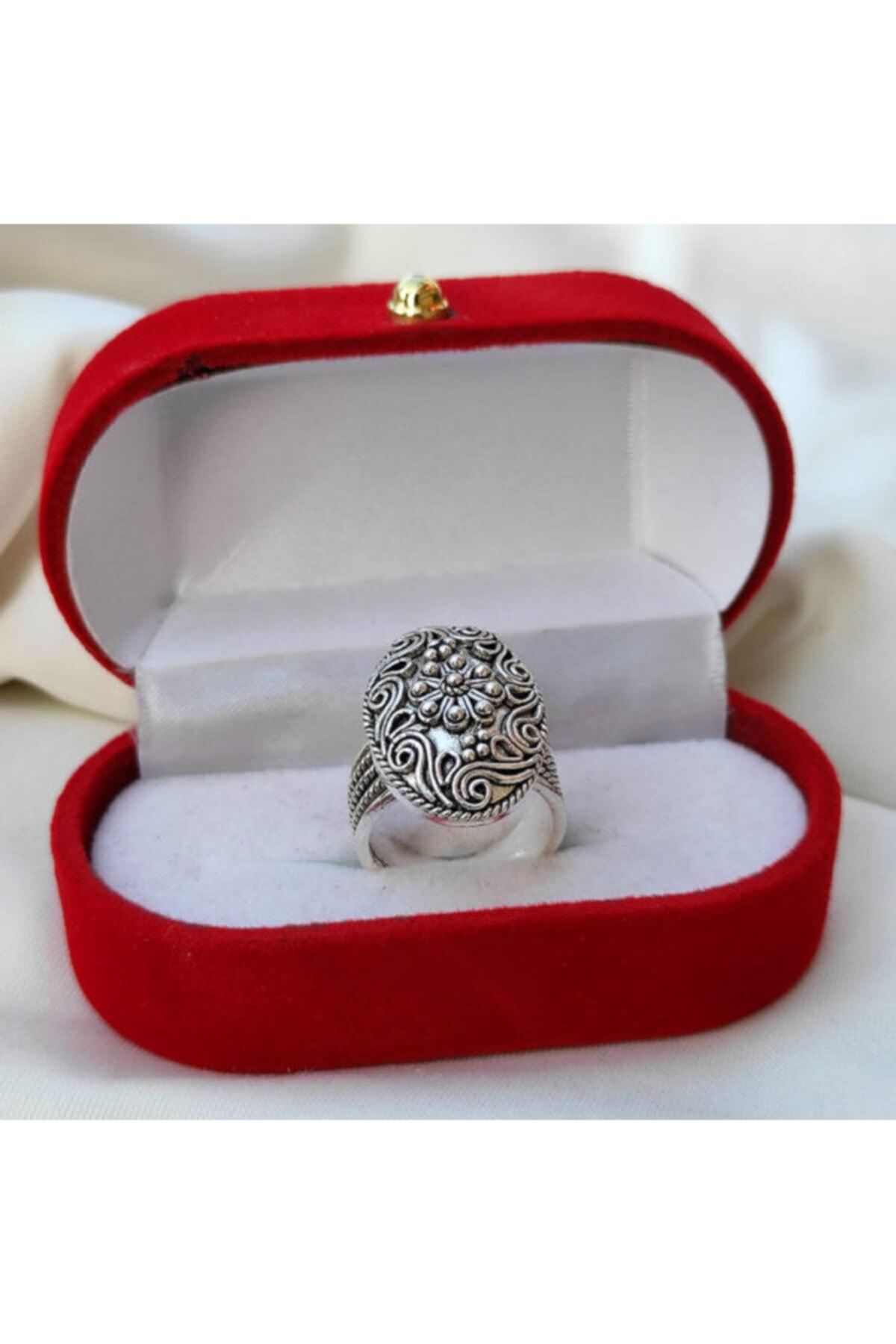 Telkari Dünyası Kadın Çiçek Işlemeli Oval Telkari Gümüş Yüzük 1
