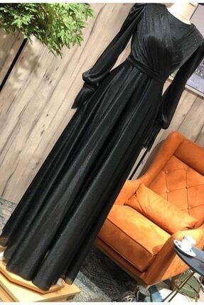 Mihir Kadın Siyah Uzun Kol Uzun Abiye Elbise