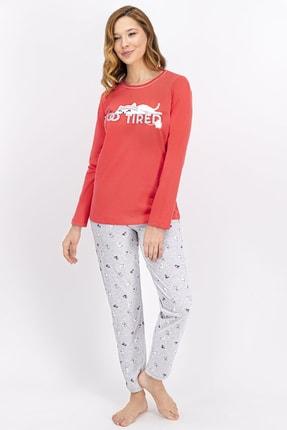 ROLY POLY Kadın Nar Çiçeği Tired Cat Pijama Takımı