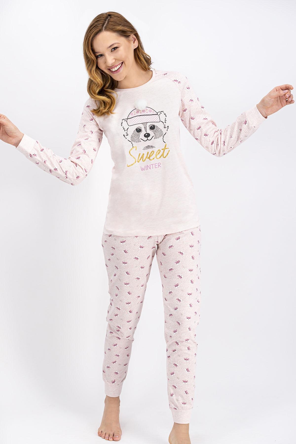 ROLY POLY Kadın Pembemelanj Sweet Winter Pijama Takımı 1