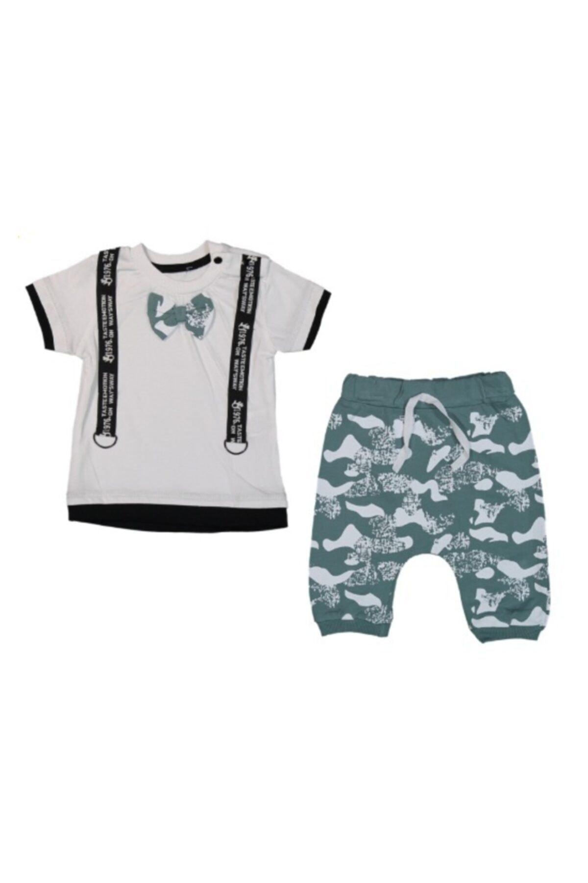 Popolin Erkek Bebek Yeşil Papyonlu Askılı Kamuflaj Takım 2989 1