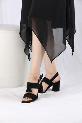 VİVA Kadın Siyah Kalın Topuk Süet Bantlı Ayakkabı