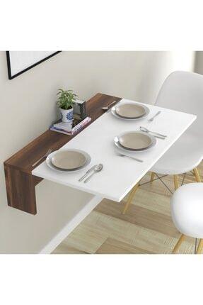 intarz Katlanır Mutfak Masası Raflı Açma Kapama Masa Ceviz-beyaz