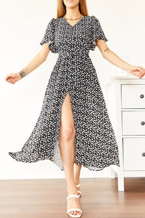 XHAN Kadın Siyah Kısa Kol Kalp Desenli Elbise 0yxk6-43964-02