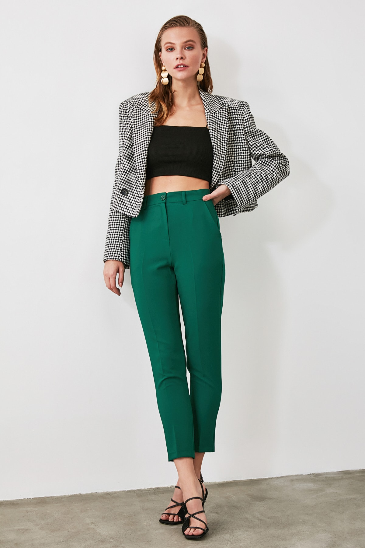 TRENDYOLMİLLA Yeşil Cigarette Pantolon TWOSS19ST0038 2