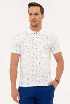 Pierre Cardin Erkek Lacivert Detaylı Beyaz Slim Fit Polo Yaka T-Shirt