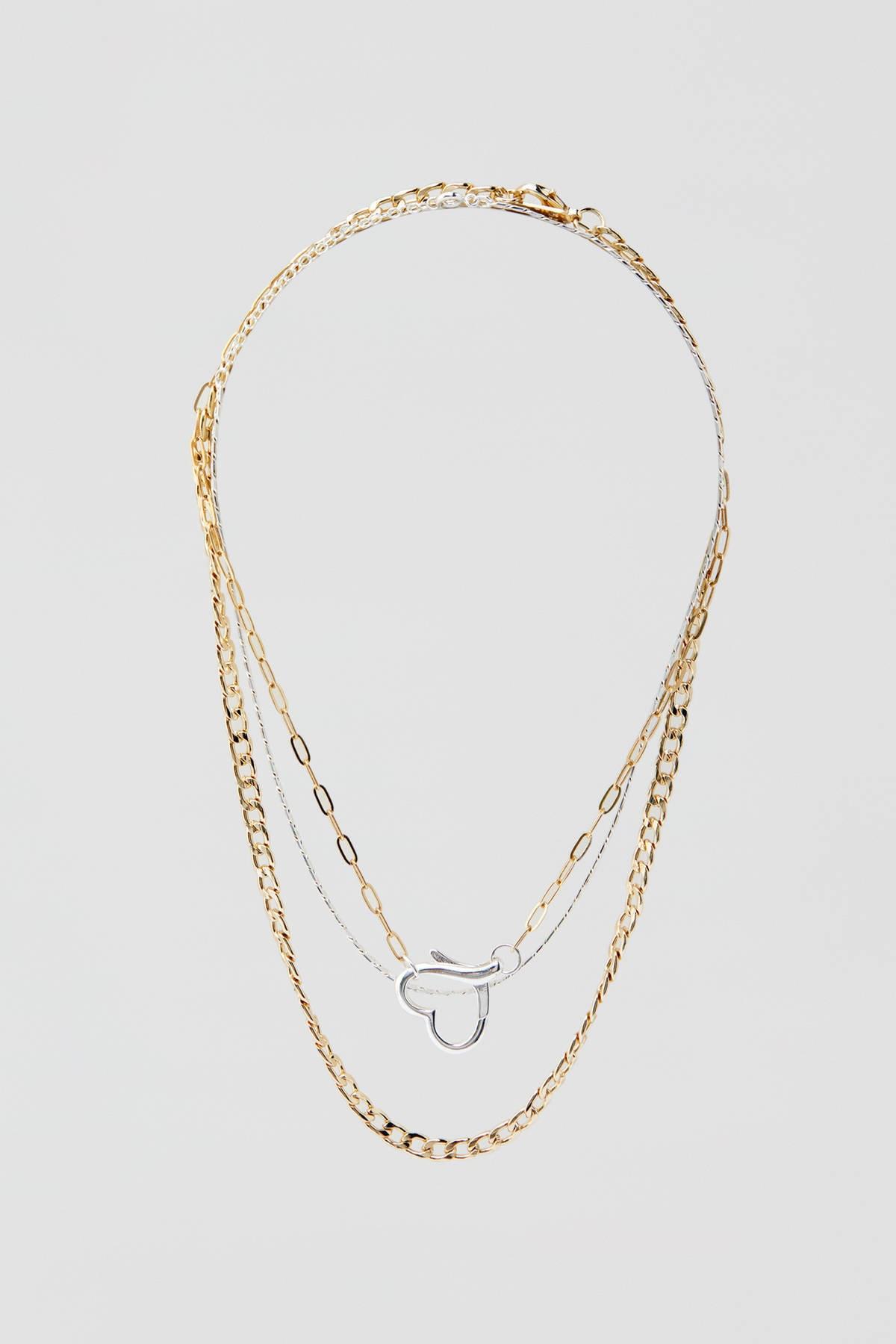 Pull & Bear Kadın Altın Rengi 3'Li Kalpli Kolye Seti 09996345 1