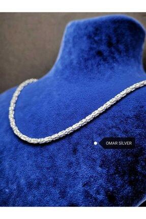 Omar Silver Kral Beyaz 2.5/3.0 Mm 55 Cm Kare Zincir Kolye Gümüş 22.05 Gr