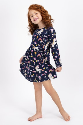 ROLY POLY Kız Çocuk Lacivert Lovely Peace Unicorn Elbise
