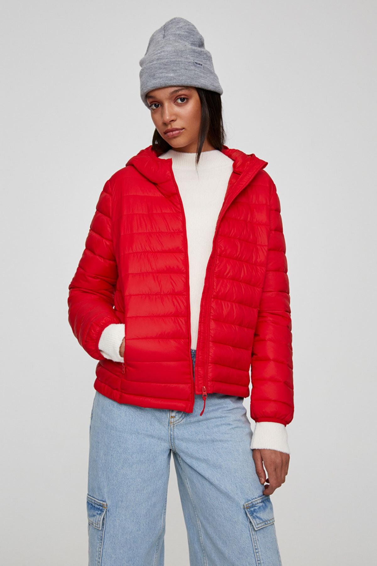 Pull & Bear Kadın Açık Kırmızı Basic Şişme Mont 09714333