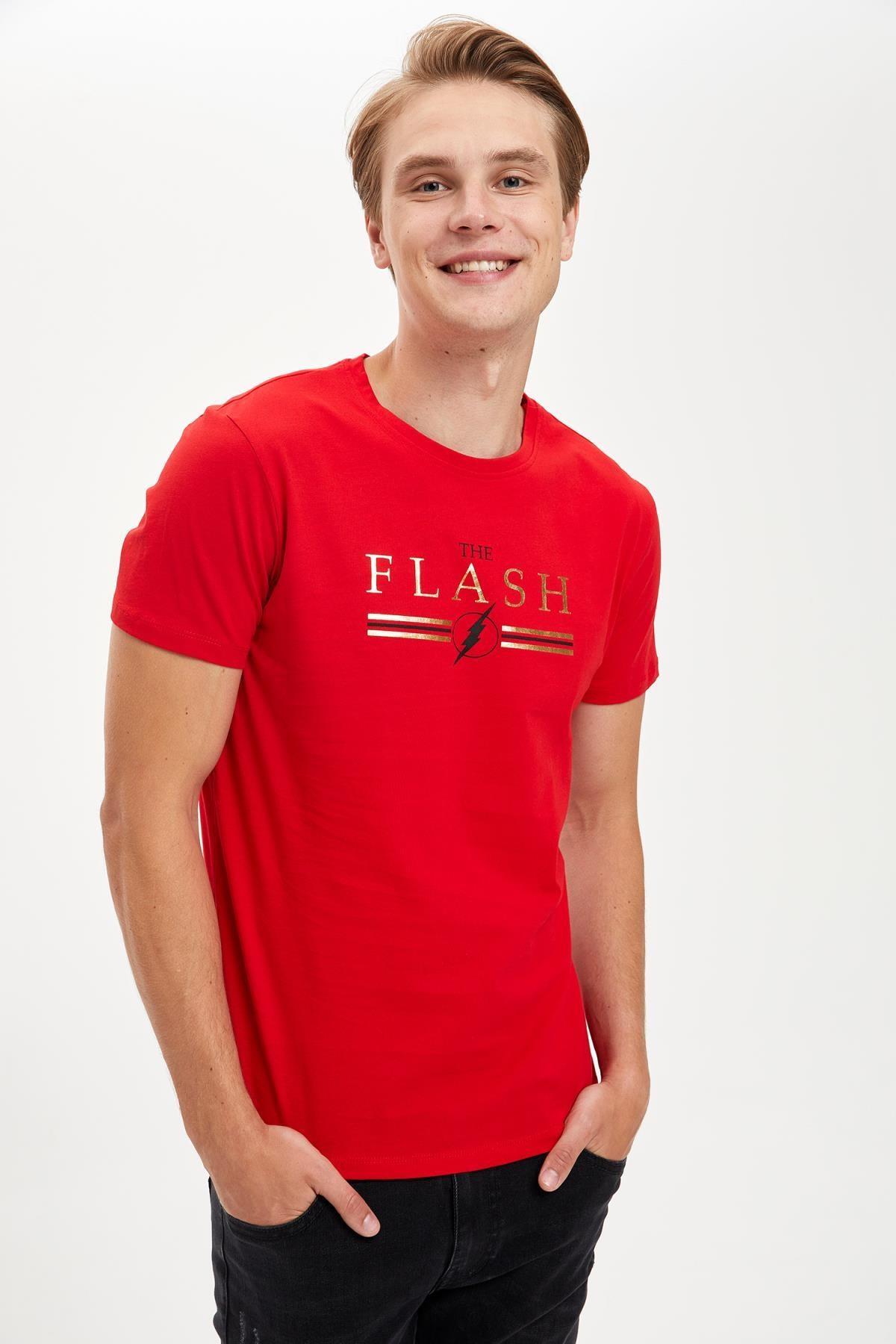 DeFacto Erkek Kırmızı Warner Bros Flash Lisanslı Slim Fit Bisiklet Yaka Tişört