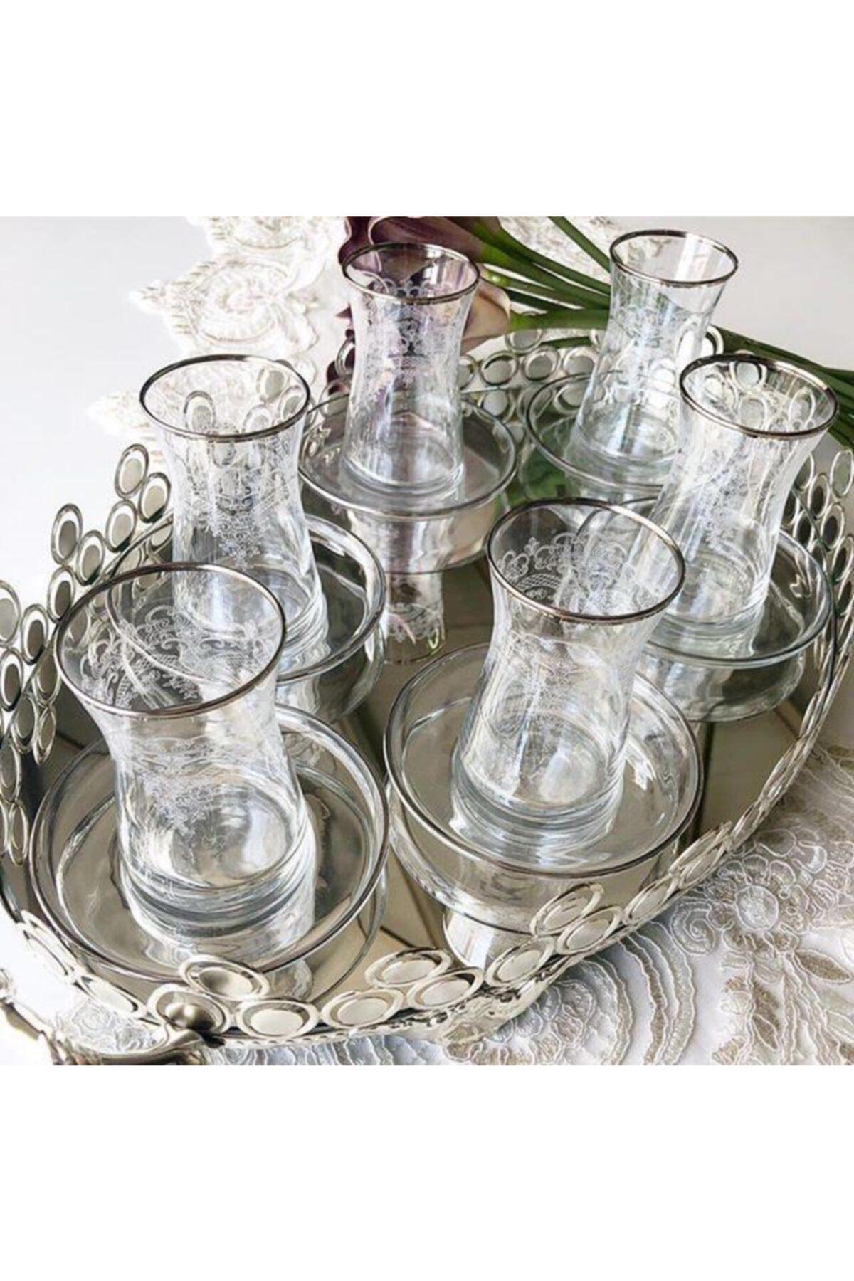 Paşabahçe El Dekorlu Çiçek Desenli 6 Kişilik 12 Parça Çay Cam Bardağı Seti 2