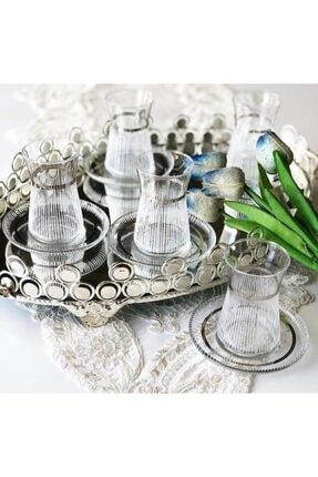 Paşabahçe El Dekorlu Desenli 6 Kişilik 12 Parça Çay Cam Bardağı Seti