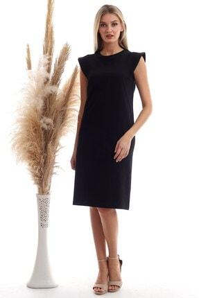 Cotton Mood Kadın Siyah Süprem Omuzu Telalı Elbise 20333416
