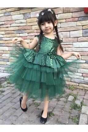 Buse&Eylül Bebe Kız Çocuk Yeşil Pul Payet Elbisesi