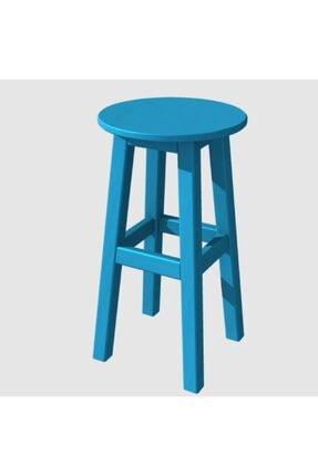Arbre Ahşap Tabure 50 Cm Gök Mavi Renk Iskelet- Tabla Renk Seçenekli