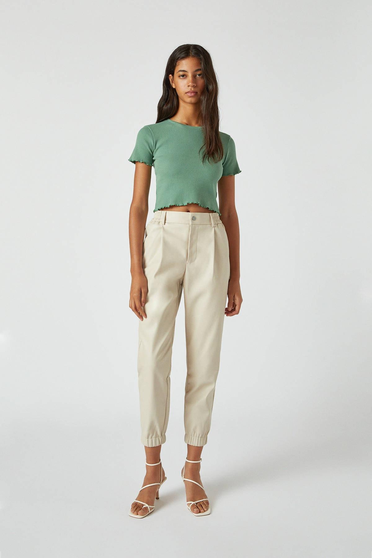 Pull & Bear Kadın Yeşil Kıvrımlı Kenarlı Basic T-Shirt 05234369 2