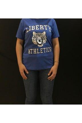 Panda Erkek Mavi Liberty Athletics Baskılı T-shirt