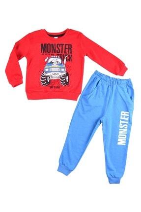 Minigo Erkek Çocuk Kırmızı Monster Baskı Eşofman Takım