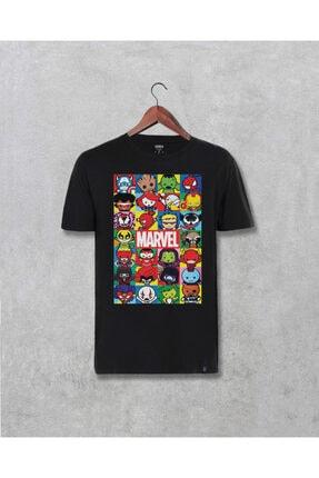 Darkia Unisex Siyah Marvel Avengers Karakterleri Yenilmezler Baskılı T-shirt
