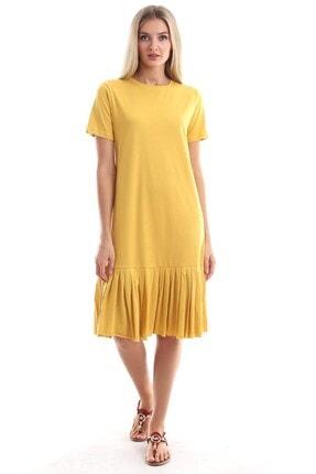 Cotton Mood Kadın Hardal Süprem Eteği Pliseli Kısa Kol Elbise 9303044