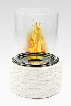 MumvemuM Beyaz Taşlı Bioethanol Şömine Masa Tipi + 1 Litre Yakıt Hediyeli