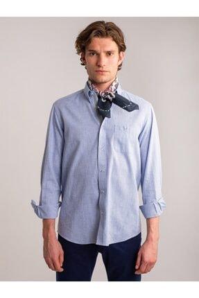 Dufy Mavi Armür Nefes Alabilen Pamuk Keten Karışımlı Erkek Gömlek - Battal
