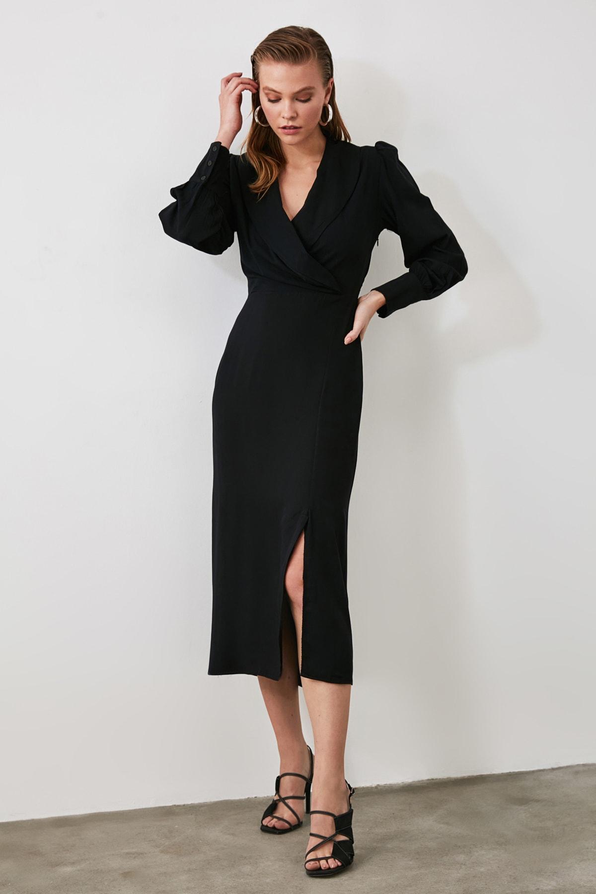 TRENDYOLMİLLA Siyah Kruvaze Yaka Yırtmaçlı Elbise TWOAW21EL0230 1