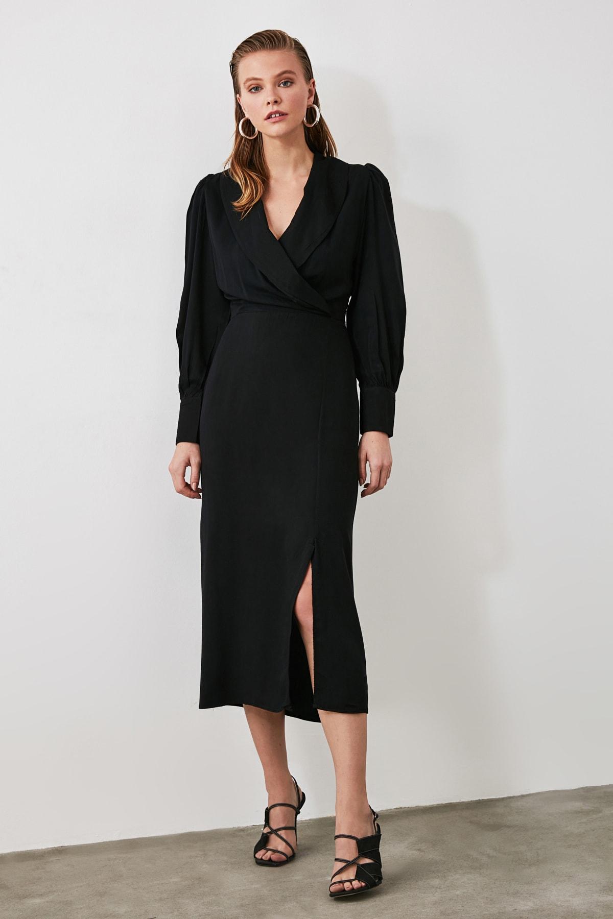 TRENDYOLMİLLA Siyah Kruvaze Yaka Yırtmaçlı Elbise TWOAW21EL0230 2