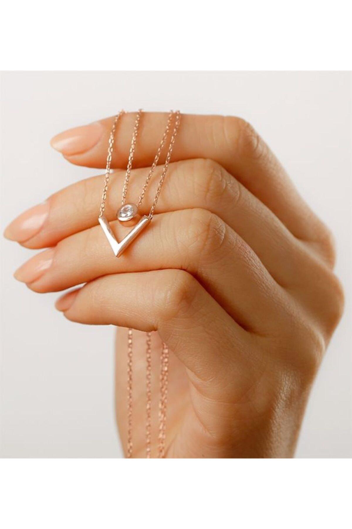 Gümüşistan 925 Ayar Gümüş Çift Zincir Trend Kolye 2