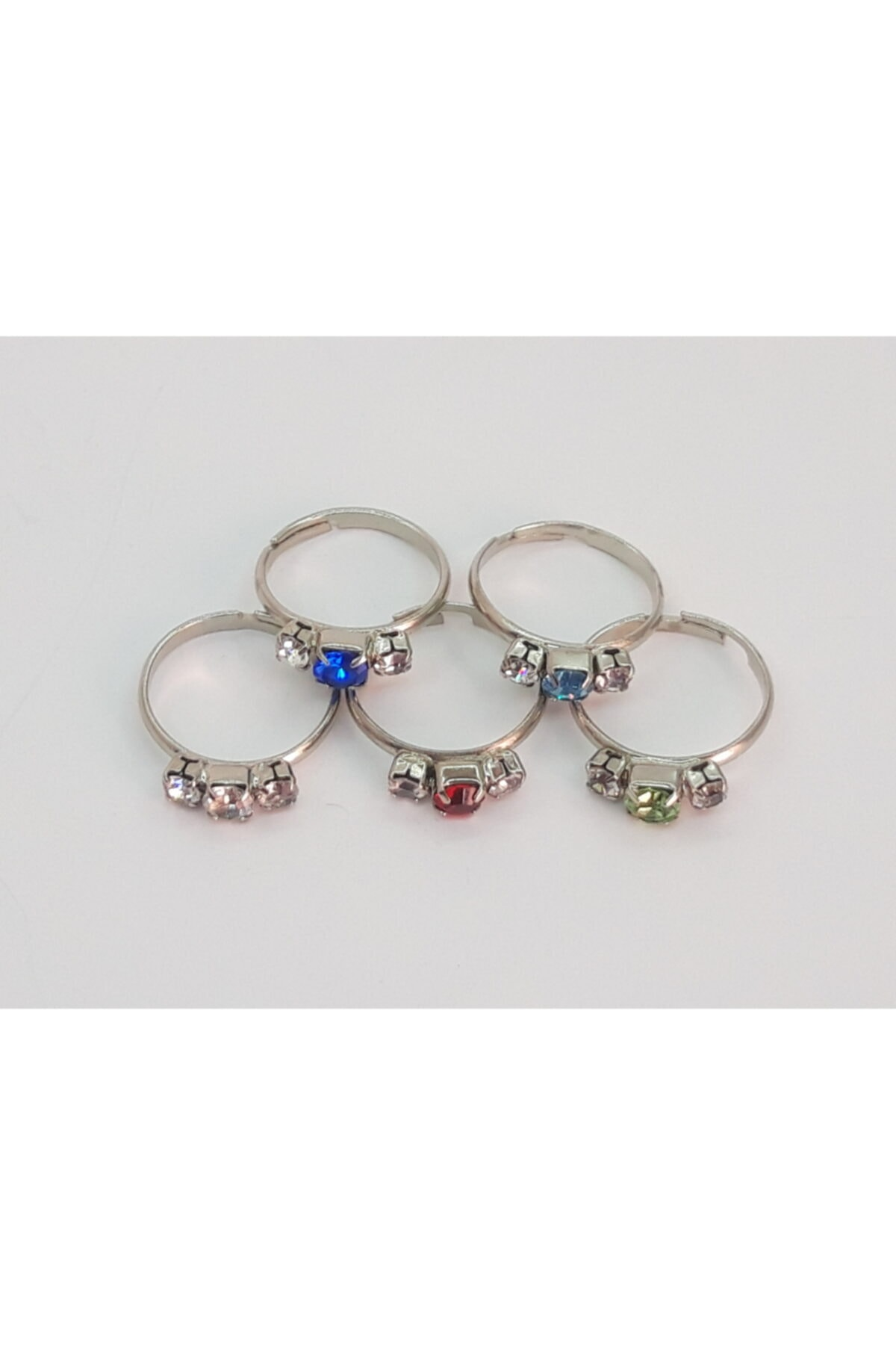 Özel Yapım Trendyıldızı 5 Adet Üç Taşlı Kız Çocuk Yüzüğü 2