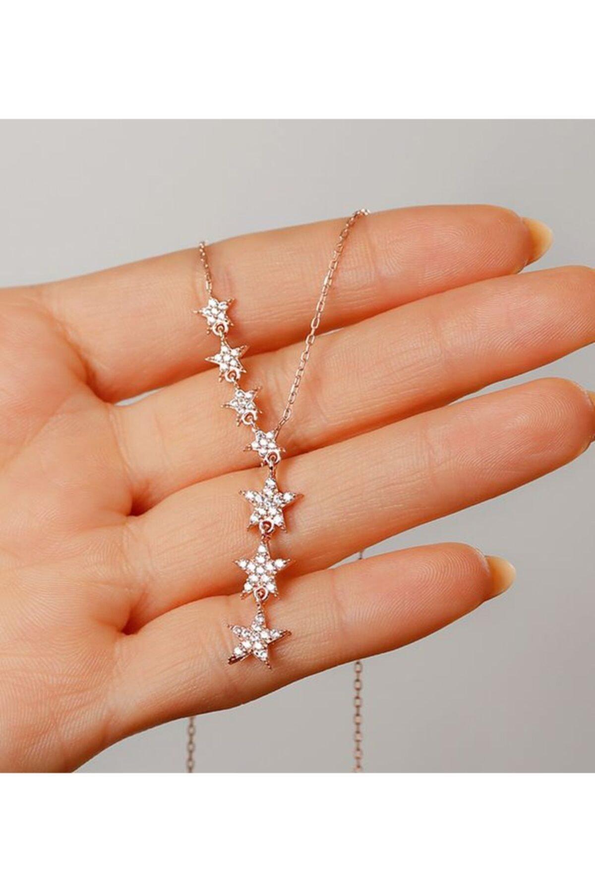 Gümüşistan 925 Ayar Gümüş Beyaz Taşlı Kayan Yıldız Kolye 2