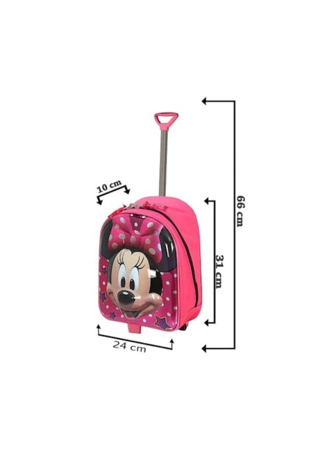 Ewason Minnie Mouse Kreş Anaokulu Ve Günlük Kullanım Çantası Çekçekli Tekerlekli 2in1 Anaokulu Çantası 2