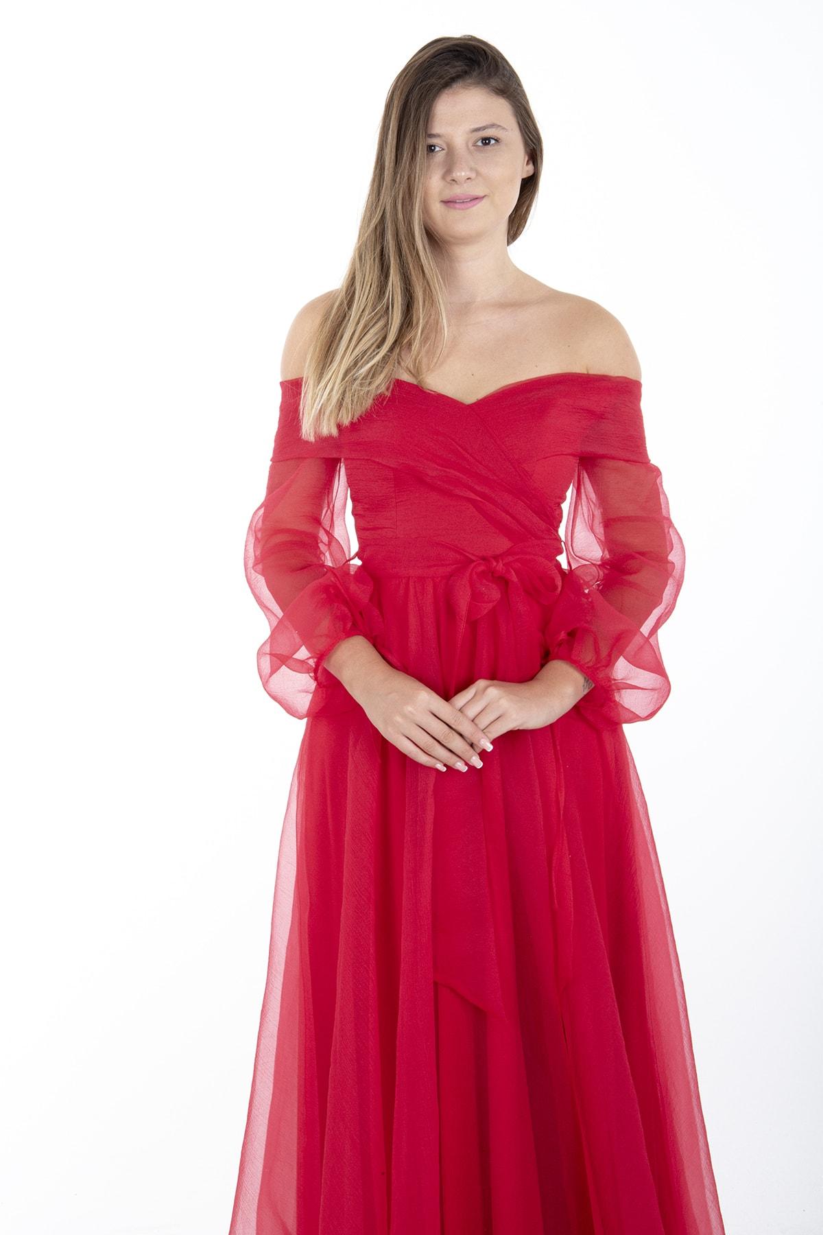 Ardanewline Kırmızı Kayık Yaka Yırtmaçlı Abiye & Meznuiyet Elbisesi 1301583 2