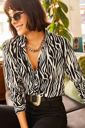Olalook Kadın Siyah Zebra Desenli Viskon Gömlek GML-19000670