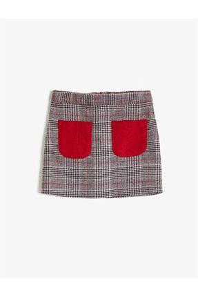 Koton Kız Çocuk Kırmızı Cep Detaylı Ekoseli Mini Etek