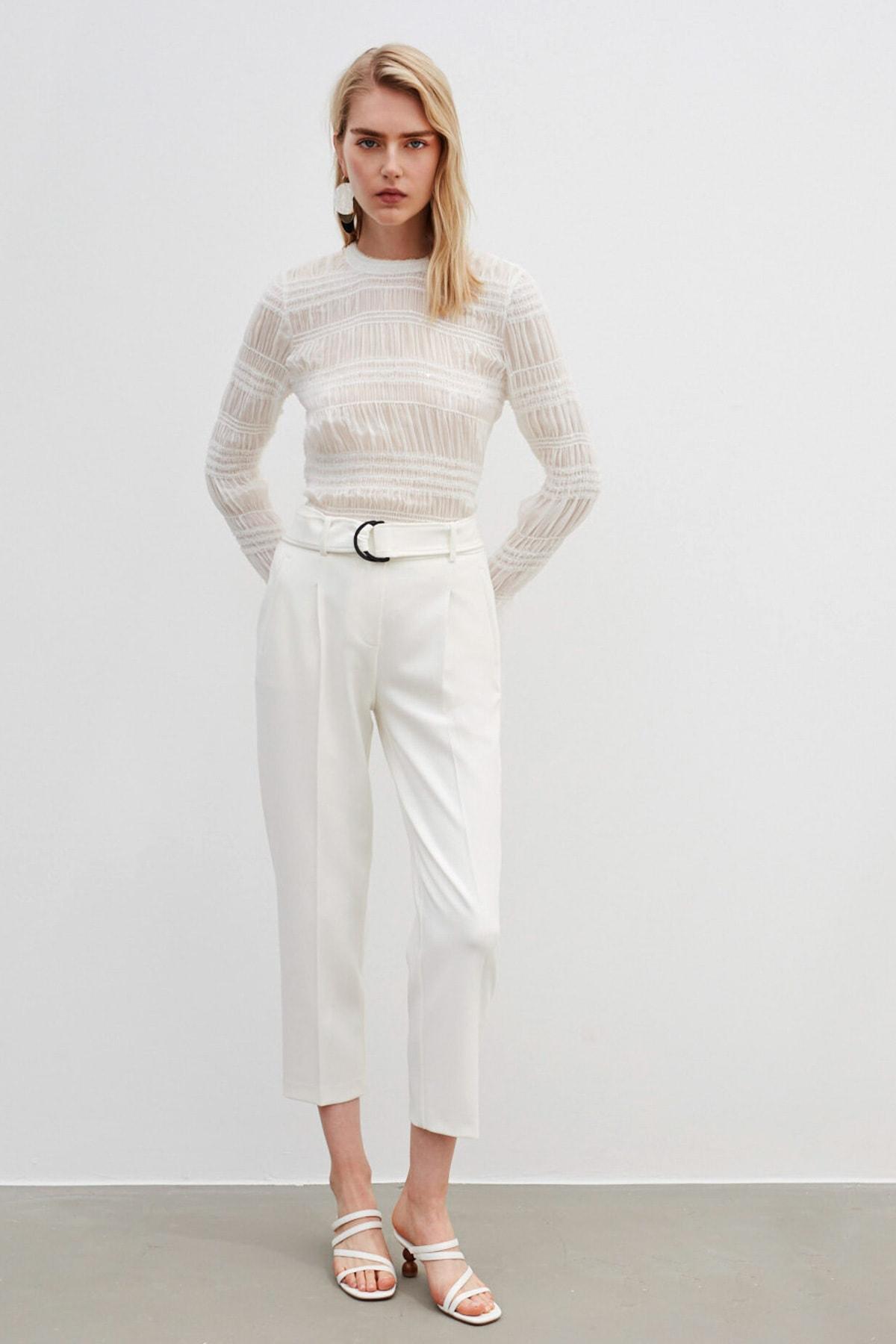 İpekyol Kadın Beyaz Payet Şeritli Bluz 2