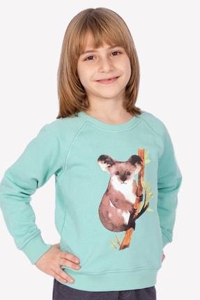 Ozmoz Kuala Baskılı Organik Çocuk Sweatshirt-Mint