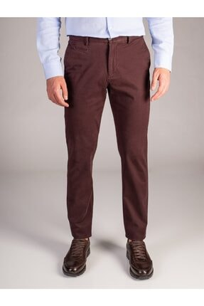 Dufy BORDO DÜZ ERKEK PANTOLON - REGULAR FIT